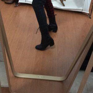 Aldo black leather lace up boots